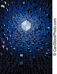 abstratos, futurista, flutuante, cubos, ligado, tecnologia digital, conceito, fundo