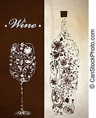 abstratos, garrafa, vinho