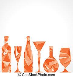 abstratos, garrafas, vinho, triangulo