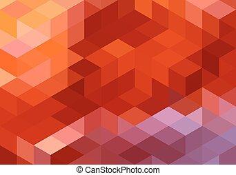 abstratos, geomã©´ricas, fundo, vermelho