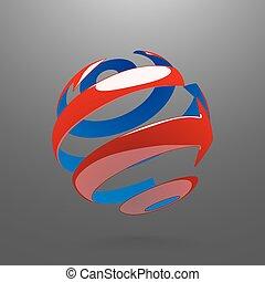 abstratos, globo, girar, setas