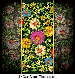 abstratos, grunge, fundo, com, floral, ornamento