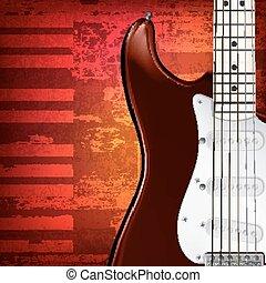 abstratos, grunge, fundo, com, guitarra