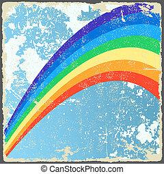 abstratos, grunge, fundo, com, rainbow., vetorial