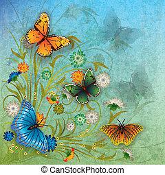 abstratos, grunge, ilustração, com, borboleta, e, flores