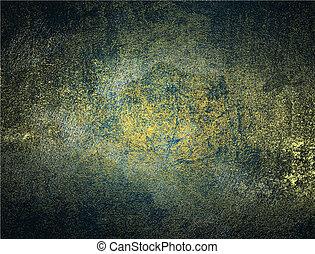 abstratos, grunge, ouro, azul, texture., desenho, template., desenho, para, local