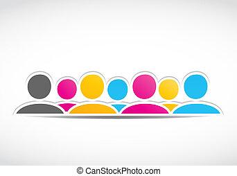 abstratos, grupo, pessoas