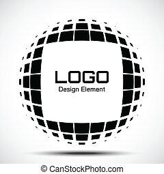 abstratos, halftone, logotipo, projete elemento