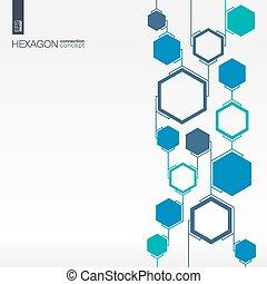 abstratos, hexágono, fundo, com, integrada, polígonos
