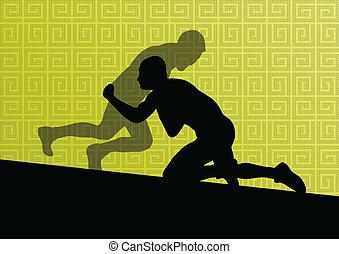 abstratos, homens, wrestling, romana, ilustração, grego,...
