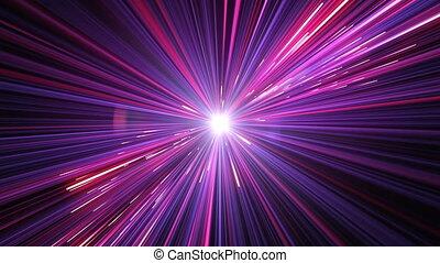 abstratos, hyperspace, pule, universo, com, spinning., bonito, viagem espacial, através, estrelas, rastros, azul, color., projeto digital, concept., looped, animação 3d, de, glowing, linhas, 4k, ultra, hd, 3840x2160.