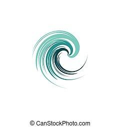 abstratos, ilustração, água oceano, vetorial, desenho, logotipo, onda, ícone