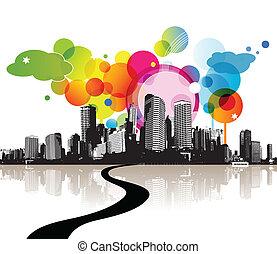 abstratos, ilustração, com, city.