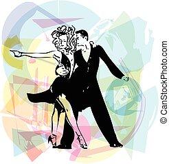abstratos, ilustração, de, latino, dançar, par