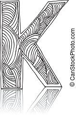abstratos, ilustração, mão, vetorial, desenhado, letter.