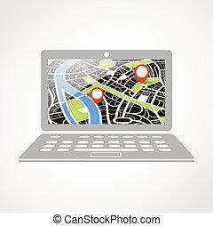 abstratos, ilustração, modernos, mapa cidade, laptop