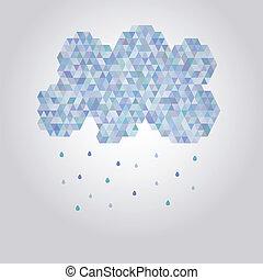 abstratos, ilustração, polygonal, gotas chuva, nuvem