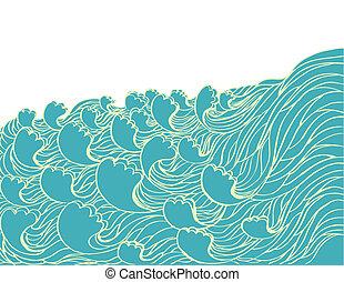 abstratos, ilustração, vetorial, paisagem, mar, waves.