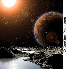 abstratos, imagem, de, um, planeta, com, water., achar, novo, fontes, e, technologies., futuro, de, viagem, para, distante, planets.