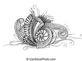 abstratos, incomum, desenho lápis