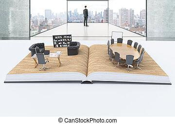 abstratos, interior escritório