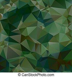 abstratos, irregular, verde, polígono, padrão, cor, baixo, poly, triangulo, quadrado, -, fundo, escuro, militar, camuflagem, marrom, vetorial, cáqui