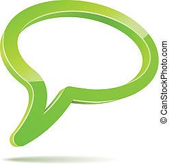 abstratos, isolado, experiência., verde, fala, branca, balloon, 3d