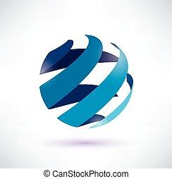 abstratos, isolado, símbolo, vetorial, globo, ícone