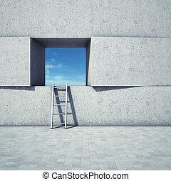 abstratos, janela, com, escada