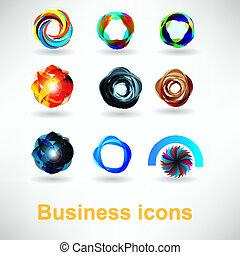 abstratos, jogo, ícones negócio
