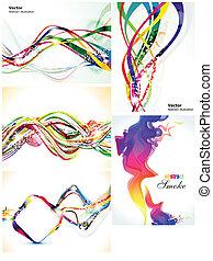 abstratos, jogo, múltiplo, coloridos, onda