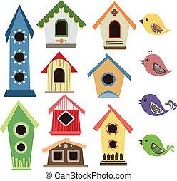 abstratos, jogo, pássaros, birdhouse