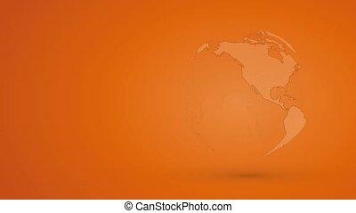 abstratos, laranja, globo, terra planeta, com, esboço