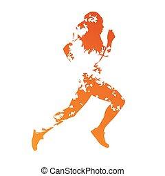 abstratos, laranja, grungy, executando, mulher