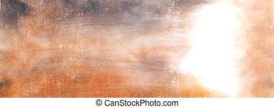 abstratos, laranja, marrom, aquarela, borrões, background:, mão, desenhado