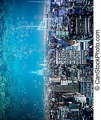abstratos, lateralmente, água, cidade, fundo