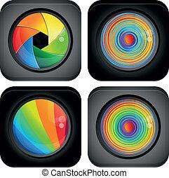 abstratos, logotipo, com, arco íris, projete elementos
