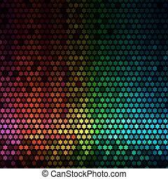 abstratos, luzes, discoteca, experiência., multicolor, estrela, pixel, mosaico, vetorial