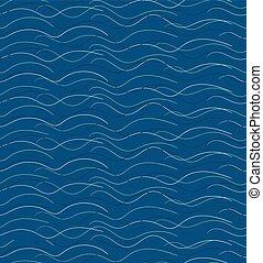 abstratos, mão, desenhado, ondas, padrão