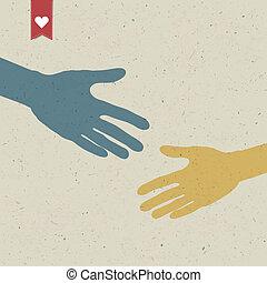 abstratos, mão, shake., vetorial, eps10
