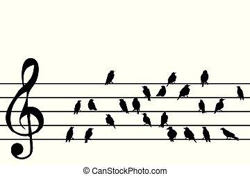 abstratos, música, aduela, com, pássaros