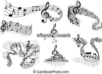 abstratos, música, aduelas, com, notas