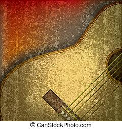 abstratos, música, fundo, com, guitarra acústica