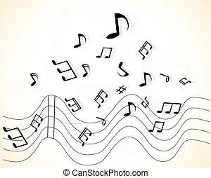 abstratos, música, fundo, com, notas