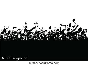 abstratos, música, fundo, com, notas, vetorial