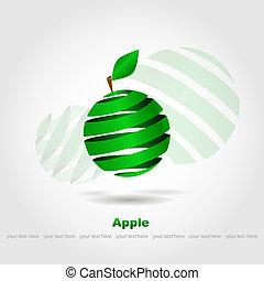 abstratos, maçã verde