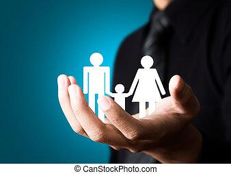 abstratos, macho, família, mão