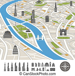 abstratos, mapa cidade, com, silhuetas, de, casas