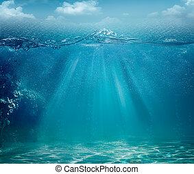 abstratos, mar, e, oceânicos, fundos, para, seu, desenho