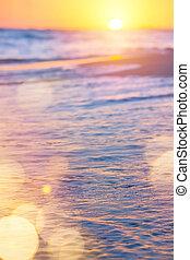 abstratos, mar, verão, experiência;, pôr do sol, sobre, a, praia